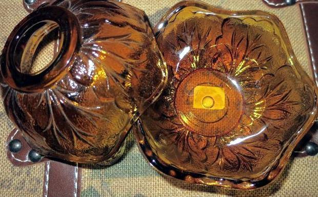 Vintage Amber Fairy Lamp, Depression Glass Candle Holder, Glass Votive