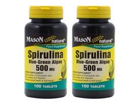 2 X 100 = 200 tablets SPIRULINA 500 mg BLUE GREEN ALGAE 100% PURE NATURAL - $14.60