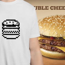 Funny 8 Bit Pixel Double Cheeseburger Hamburge Mens Crew Neck Tee Unisex T-Shirt - $14.28+
