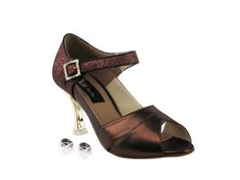 Very Fine Ladies Women Ballroom Dance Shoes EKCD3010 Copper & Copper Sta... - $79.95