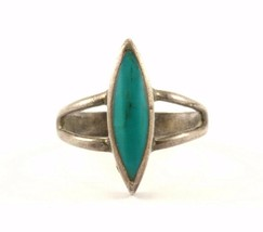 Vintage Navajo Marquise Turquoise Ring 925 Sterling RG 2457 - $496,95 MXN