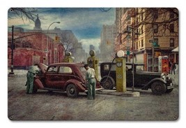 When Service was in Style Gas Station Attendants Rat Rod Studios Metal Sign - $29.95