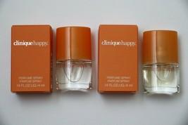 Lot of 2 x 4 ml/.14 oz Clinique Happy Perfume Parfum Spray Travel Mini - $9.85