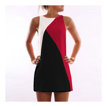 Fashionable Contrast Color Geometric Splicing Sleeveless Dress  red  S - $14.99