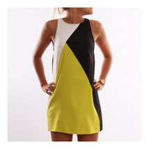 Fashionable Contrast Color Geometric Splicing Sleeveless Dress  black  S - $14.99