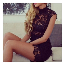 Sexy Embroidery Hollow Lace Bandage High-waisted Sleeveless Dress   black  S - $22.99