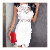 Sexy Embroidery Hollow Lace Bandage High-waisted Sleeveless Dress   white  S - $22.99