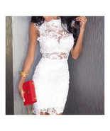 Sexy Embroidery Hollow Lace Bandage High-waisted Sleeveless Dress   whit... - $22.99
