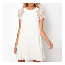 Elegant Back Slit Button Chiffon Dress   white   S - $16.99