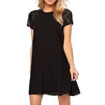 Elegant Back Slit Button Chiffon Dress  black   S - $16.99