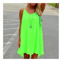 Suspender Checks Splicing Backless Beach Sleeveless Chiffon Dress green - $15.99