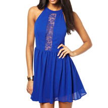 Fashionable Sexy Dress Hollow Lace Splicing   blue  S - $15.99