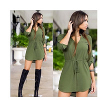 Pure Color V Collar Middle Sleeve Irregular Sexy Tie-up Woman Attire Dress - $28.99