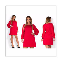 Lantern Sleeve Pure Color Round Collar Dress Fat MM Big Size Woman Attire - $24.99