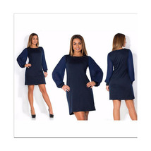 Lantern Sleeve Pure Color Round Collar Dress Fat MM Big Size Woman Attir... - $24.99