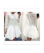 White Lace Dress Slim Short Ball Gown  M - $22.99