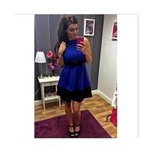 Summer Round Color Sleeveless Contrast Color Splicing Waisted Slim Dress... - $19.99