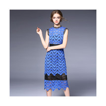 Backless Sexy Crochet Hollow Water Soluble Long Skirt Slim Dress60185  blue   S - $89.99