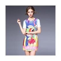 Round Collar Cartoon Figure Printing Short Sleeve A Shape Skirt Dress60203   S - $58.99