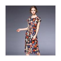 Woman Letter Elastic Waist Long Skirt Silk Dress60183   S - $85.99