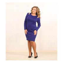 European Big Size Pure Color Dress Woman Professional Attire Dress  purp... - $25.99