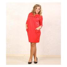 European Big Size Sexy Rivet Button Knot Dress Pure Color Professional W... - $25.99