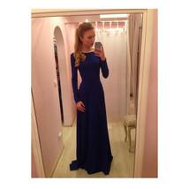 Long Full Dress Skirt Party Attire European Style sapphire blue S - $24.99