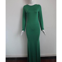 Long Full Dress Skirt Party Attire European Style green S - $24.99
