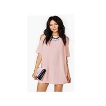 Off-shoulder Short Sleeve Chiffon Dress European Loose Short Skirt pink S - $15.99