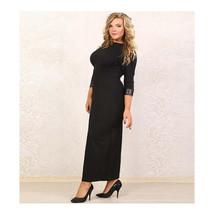 European Big Size Sexy Woman Attire with Belt Long Dress Full Dress black XL - $31.99