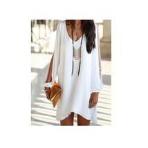 European Mini Chiffon A Shape Dress Fasionable white S - $16.99