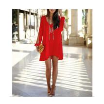European Mini Chiffon A Shape Dress Fasionable red S - $16.99