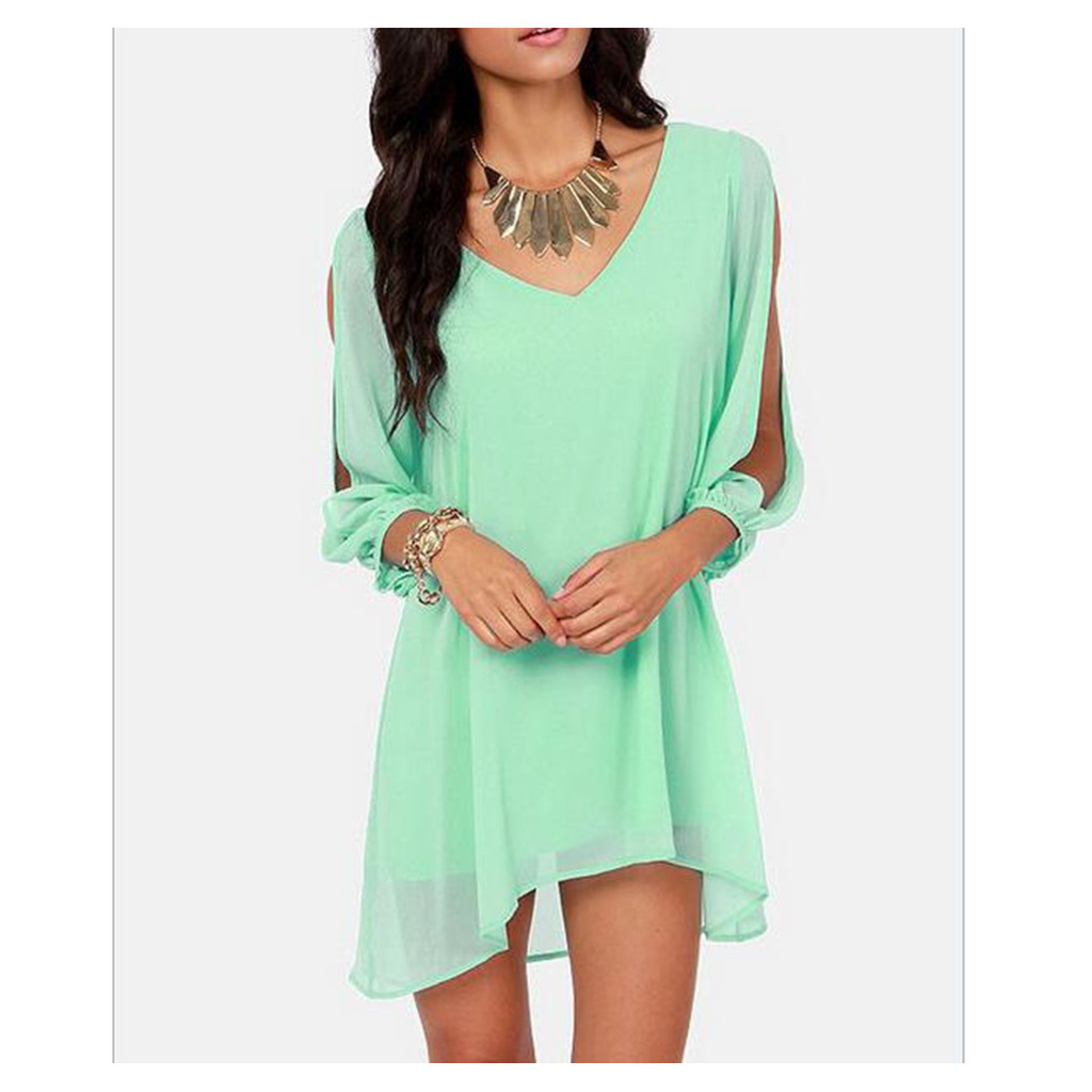 European Mini Chiffon A Shape Dress Fasionable matcha green S - $16.99