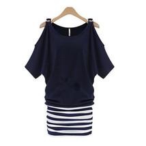 Woman Attire Summer Microgroove Splicing Off-shoulder Short Sleeve Dress - $21.99