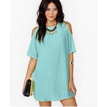 Off-shoulder Short Sleeve Chiffon Dress European Loose Short Skirt light blue S - $15.99
