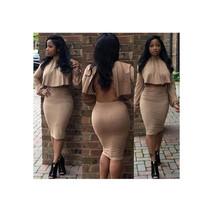 Autumn Winter Long Sleeve Cloak 2pcs Skirt Backless Cross Tie-up Dress S - $23.99
