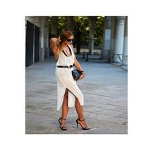 Vest Chiffon Dress Halter Type Backless Sexy Woman Attire Middle Long Slit Dress - $21.99
