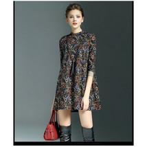 Skirt Seventy Percent Sleeve Loose Round Collar Loose Vintage Printing Dress - $45.99