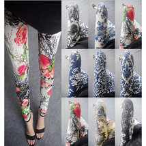 leggings Stretchy pants trousers traditional ink Pattern Peony blue and white - $10.49