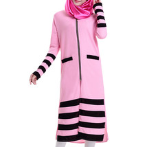 Muslim Long Sleeve Knit Long Dress   pink - $31.99