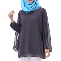 Chiffon Muslim Top Wear Fake 2pcs Suit Slit Shirt  grey - $26.99
