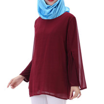 Chiffon Muslim Top Wear Fake 2pcs Suit Slit Shirt   wine red - $26.99