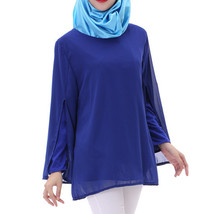 Chiffon Muslim Top Wear Fake 2pcs Suit Slit Shirt   sapphire blue - $26.99