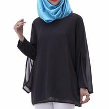 Chiffon Muslim Top Wear Fake 2pcs Suit Slit Shirt   black - $26.99