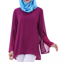 Chiffon Muslim Top Wear Fake 2pcs Suit Slit Shirt  purple - $26.99
