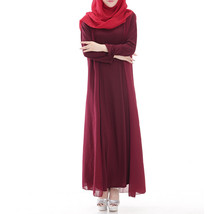 Muslim Robe Sunday Clothes Long Sleeve Dress  wine red - $29.99