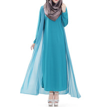 Muslim Robe Sunday Clothes Long Sleeve Dress   sky blue - $29.99