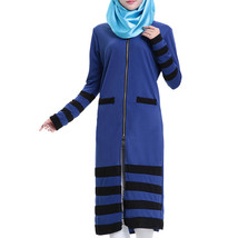 Muslim Long Sleeve Knit Long Dress   sapphire blue - $31.99