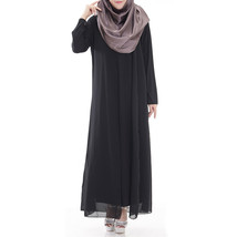 Muslim Robe Sunday Clothes Long Sleeve Dress  black - $29.99