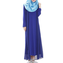 Muslim Robe Sunday Clothes Long Sleeve Dress   sapphire blue - $29.99